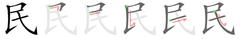 stroke order 民